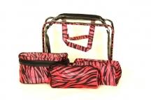 BRIGHT Kosmetická taška - set 4 etuí průhledná A5 růžová zebra
