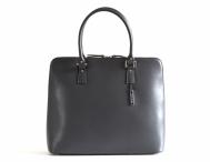 Bright Elegantní kožená kabelka hranatá do ruky A4 3/4 zip šedá