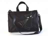 """H.DUE.O Dámská cestovní taška """"Cat"""" 41/21 na palubu třpytivá černá"""