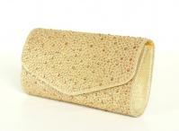 Kamínková společenská kabelka s řetízkem látková klasická zlatá
