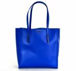 BRIGHT Fashion kabelka A4 hladká klasická kožená otevřená modrá