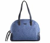 Bright Elegantní kabelka s kamínky oblá větší A5 modrá