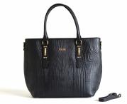 BRIGHT Fashion kabelka kožená do ruky vzor dřeva A4 černá