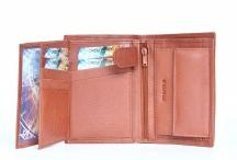 Pánská peněženka kožená na výšku velmi vybavená hnědá