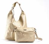 Bright Fashion kabelka - vak + kapsa 2v1 přes rameno A4 zlatá