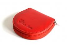 Peněženka na drobné se zipem malá kožená červená