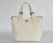BRIGHT Fashion kabelka velká hladká s přezkami kožená sv. béžová