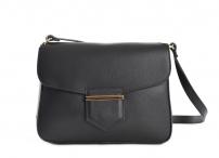 Bright Dámská kabelka menší s klopnou kožená černá