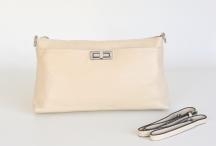 BRIGHT kabelka klasická kožená se zámečkem malá béžová