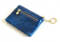 Klíčenka kožená s kapsičkami a řetízkem modrá
