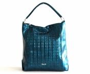 Atraktivní kabelka Bright velká přes rameno s řetízky A4 petrolejová