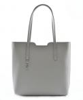BRIGHT Elegantní kabelka kožená přes rameno A4 šedá