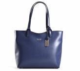 Bright Elegantní kabelka dámská kožená střední klasická modrá