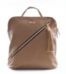 Bright Dámský batoh kožený A5 s šikmým zipem tmavě béžový