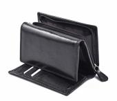 Dámská kožená peněženka s vnějším zipem dokladová na výšku černá