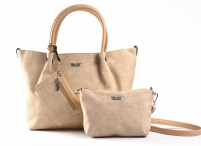Bright Fashion velká kabelka 3v1 (kapsa a pouzdro) žíhaná A4 béžová