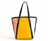 Bright Atraktivní kabelka A4 tříbarevná lesklá žlutá