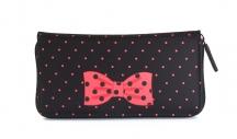 H.DUE.O Dámská peněženka na šířku vybavená s mašlí černo-červená