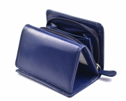 Dámská kožená peněženka na výšku se zipem na mince modrá