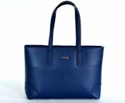 BRIGHT Elegantní kabelka kožená A4 na dokumenty modrá