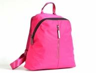 Bright Krásný elegantní batoh A5 látkový s maxi zipem a kapsou růžový