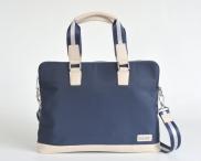 """BRIGHT Taška na notebook 14"""" Laptop bag kombinovaná s kůží modrá/béžová"""