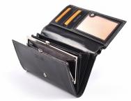 Coveri Dámská peněženka kožená vybavená s rámečkem na šířku černá