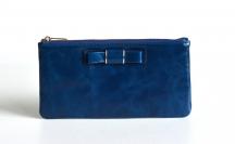 Bright Dámská peněženka/kapsa kožená dlouhá s mašličkou modrá
