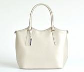 Bright Elegantní kožená kabelka perleťová střední A5 do ruky zlatá