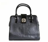 Bright Krásná fashion kabelka A4 vzor hada a pštrosa černá