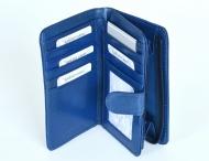 Dámská peněženka kožená na výšku vybavená se zipovou kapsou modrá