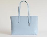BRIGHT Elegantní kabelka kožená vzorovaná na dokumenty sv. modrá