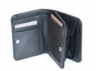 Dámská peněženka kožená na výšku malá s velkou kapsou na mince černá