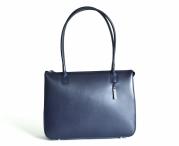 Bright Elegantní kožená kabelka A4 klasická jednoduchá modrá