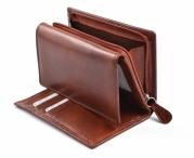 Dámská kožená peněženka s vnějším zipem dokladová na výšku hnědá