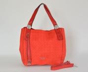 Atraktivní kabelka Bright široká s vylisovanými kroužky A5 červená