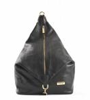 Bright dámský kožený batoh s kolmým zipem černý