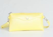 Bright Kabelka/pouzdro/etue 3v1 lesklá s kapsou a přepážkou žlutá