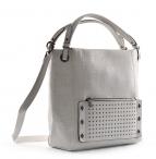 Bright Dámská kabelka A4 přes rameno s cvočky stříbrná