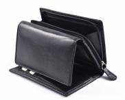 Dámská peněženka kožená na šířku střední černá