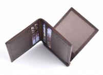 Pánská kožená peněženka-dolarka s pérkem a doklady tm. hnědá