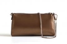 Bright Elegantní kožená společenská kabelka kožená malá bronzová