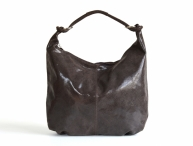 Fashion kabelka dámská kožená A4 lesklá tmavě hnědá