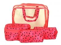 BRIGHT Kosmetická taška - set 4 etuí průhledná A5 růžová se srdíčky