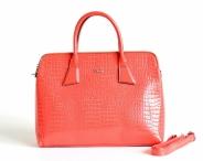 Bright Elegantní kabelka A4 do ruky lesklá dvojzipová korálová