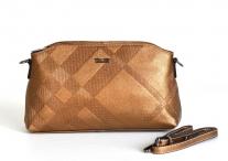 BRIGHT kabelka kožená matná s vylisovaným vzorem bronzová