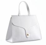 Bright Elegantní dámská kabelka s klopnou a zámkem A4 do ruky bílá