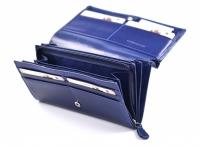 Dámská kožená peněženka na šířku (psaníčko) vybavená modrá