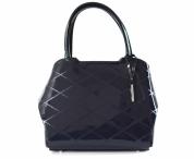 Bright elegantní laková kabelka A5 tvarovaná se vzorem do ruky modrá