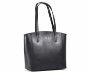 Bright Elegantní kabelka kožená A4 hladká přes rameno černá